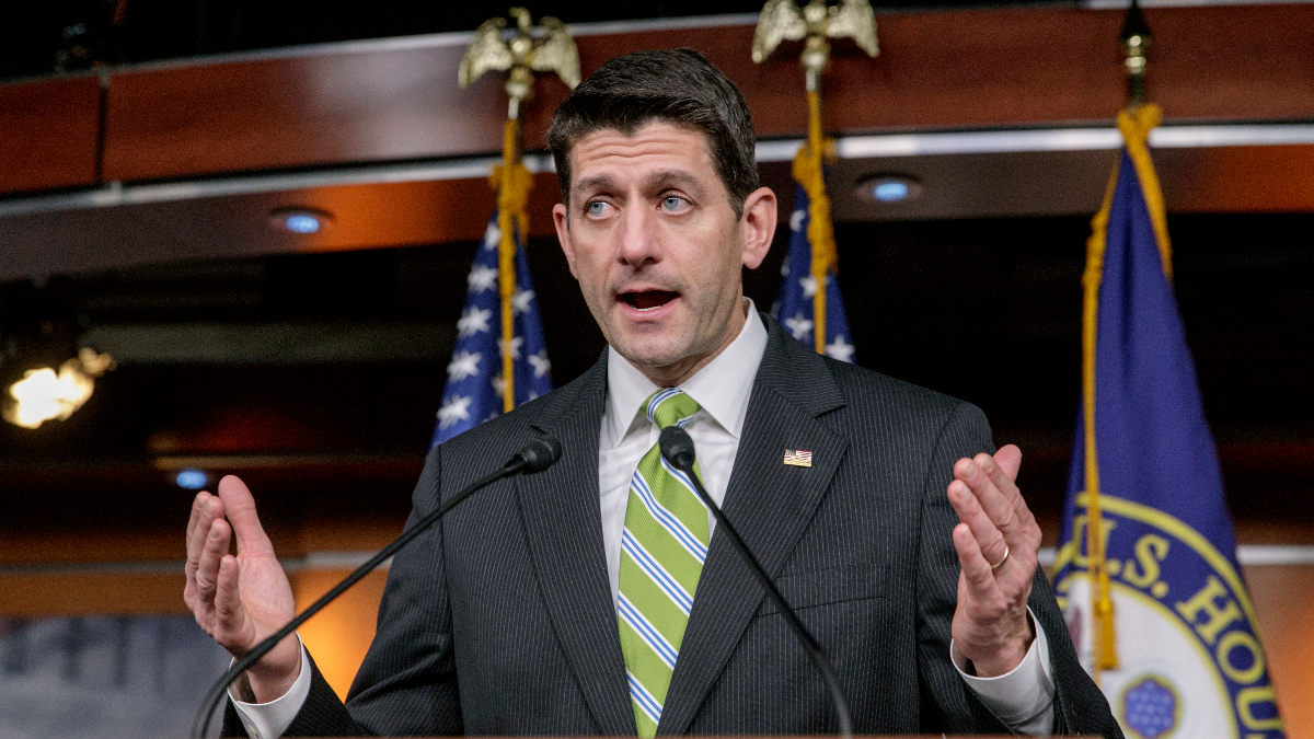 House Speaker Paul Ryan, R-Wis., announces that he is pulling the troubled Republican health care overhaul bill off the House floor, short of votes and eager to avoid a humiliating defeat for President Donald Trump and GOP leaders, at the Capitol in Washington, Friday, March 24, 2017. (J. Scott Applewhite/Associated Press)