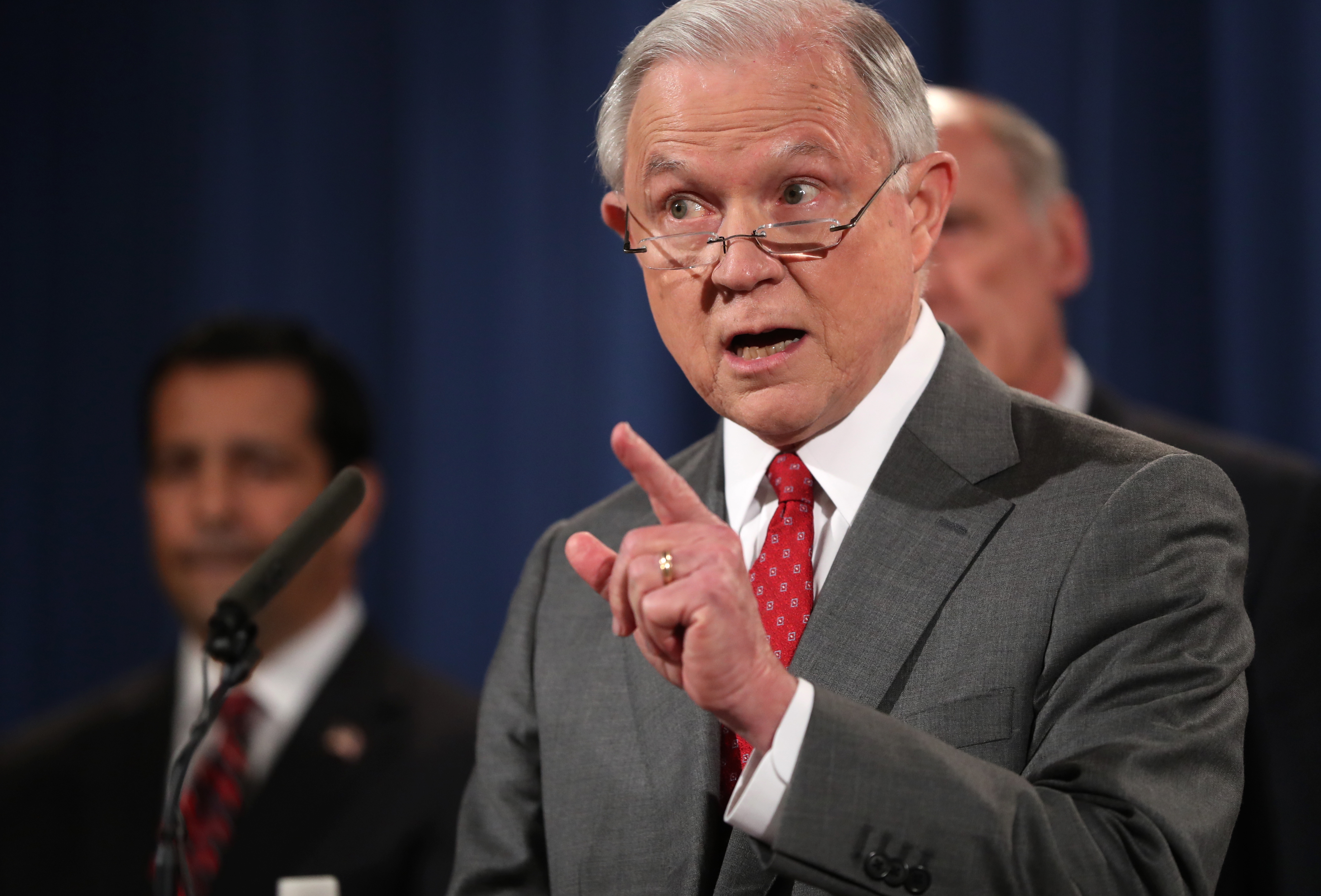 Attorney General Jeff Sessions speaks during a news conference at the Justice Department in Washington on Aug., 4, 2017. (Andrew Harnik/Associated Press)