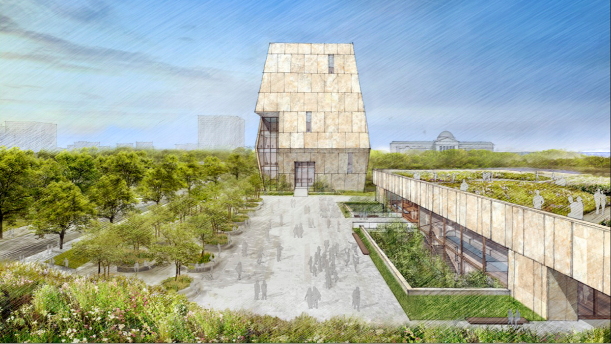 This conceptual drawing for the proposed Obama Presidential Center that will be located in Jackson Park on Chicago's South Side. The construction of the center is expected to create thousands of jobs. (Obama Foundation via AP)