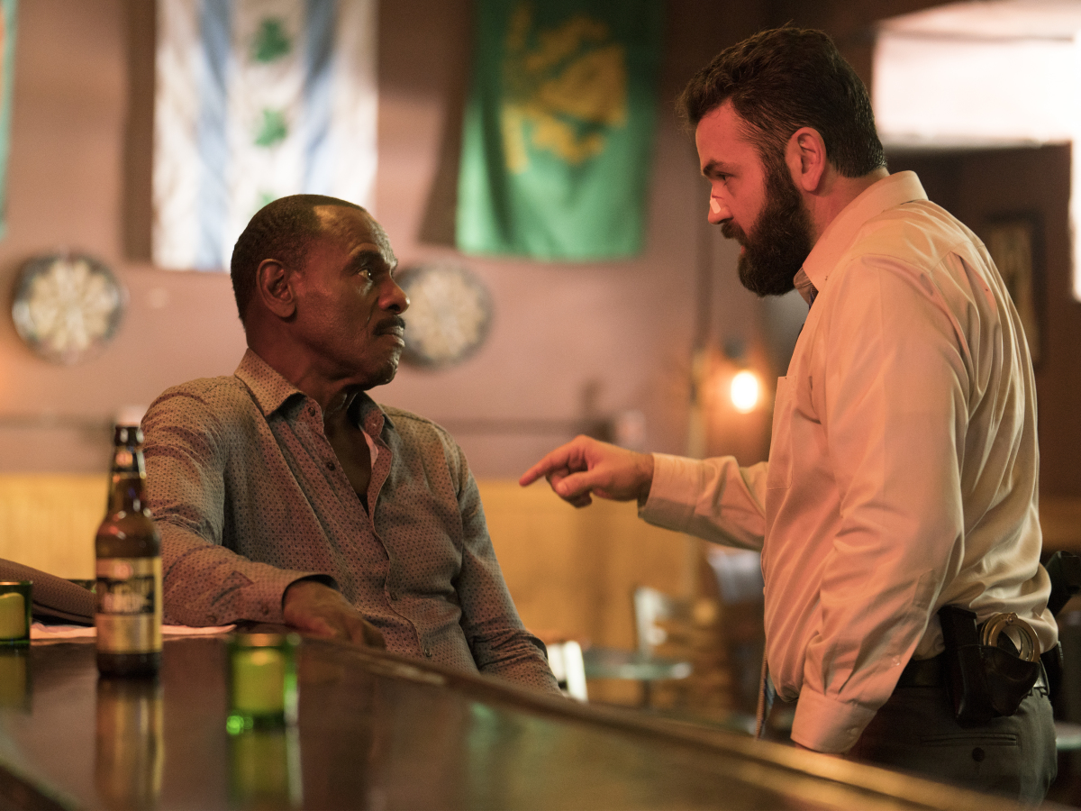 Steven Williams as Quentin and Brian King as Detective Wallace. (Parrish Lewis/SHOWTIME)