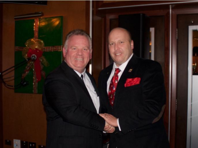 State Sen. Tom Cullerton, right, with the president of Teamsters Joint Council 25, Terrence Hancock.