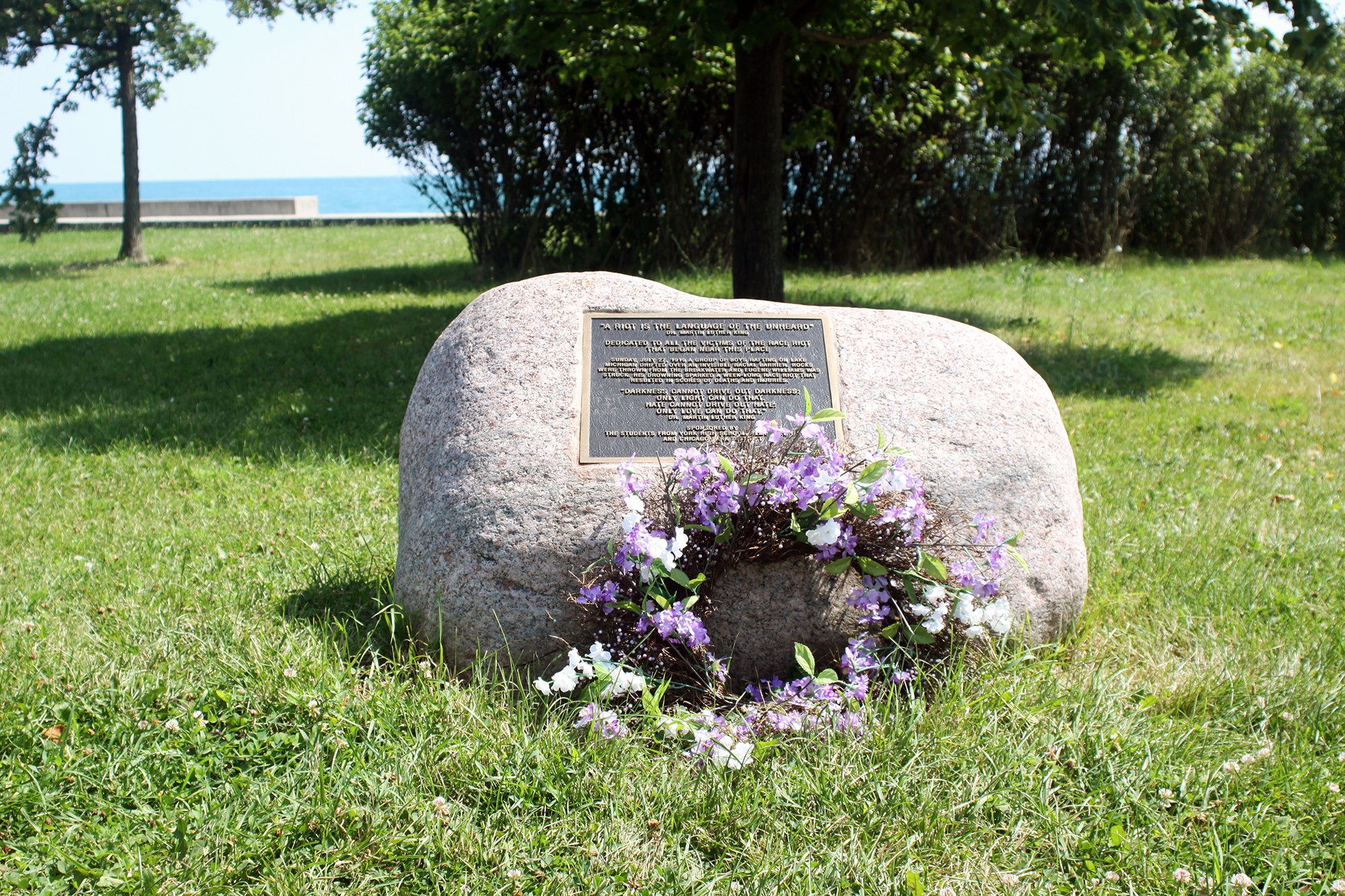 Suburban high school students were behind the plaque at 29th Street on the lakefront near where the race riots' first victim, Eugene Williams, was killed. It is currently the only memorial commemorating the violent events.