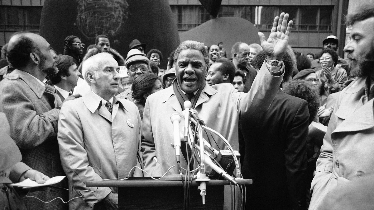 Rep. Harold Washington, last minute campaigning at the Daley Plaza in Chicago on Monday, Feb. 21. 1983. Washington opposed by incumbent mayor Jane Byrne and State's Attorney Richard M. Daley for the Democratic nomination in the Chicago mayoral race. (AP Photo/John Swart)
