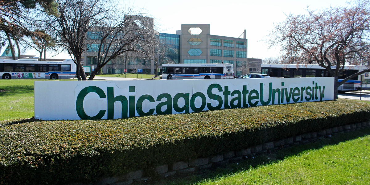 A sign at the entrance of Chicago State University in Chicago.(David Mercer/AP)