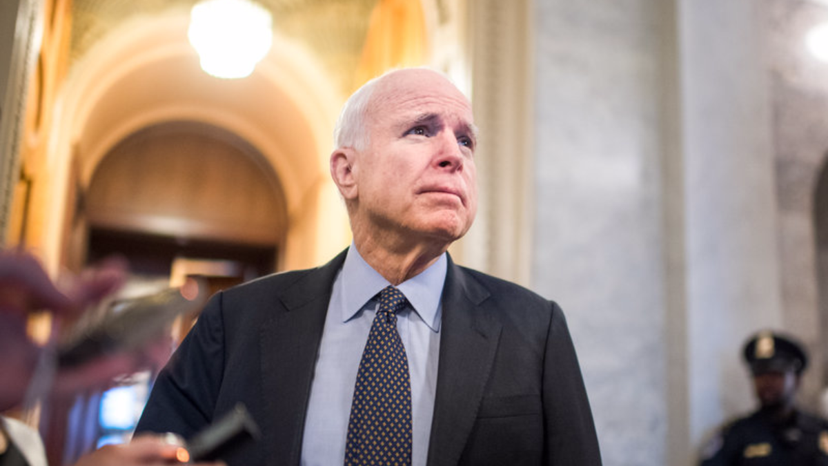 Arizona Sen. John McCain on Capitol Hill in April 2017, three months before he was diagnosed with brain cancer. (Tom Williams/CQ Roll Call/AP)