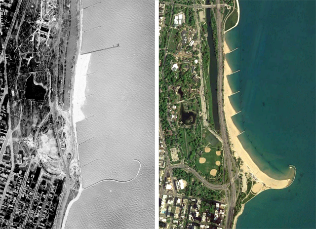 Aerial photos of North Avenue Beach before and after formation of orth Avenue Beach. (Courtesy of Chicago Park District)