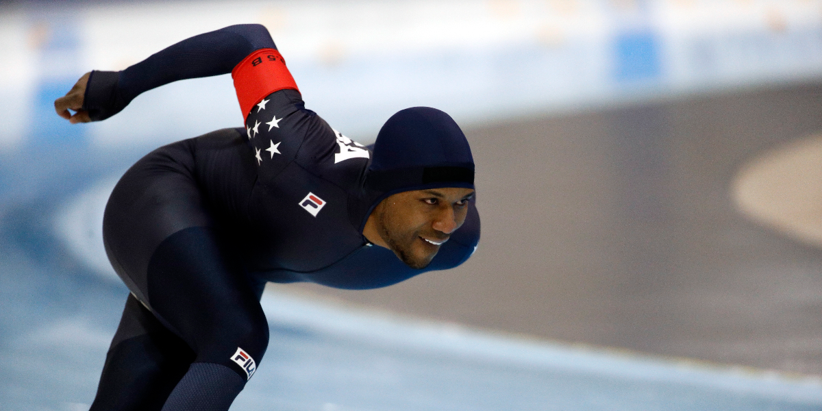 Shani Davis competes in the men's 1,500 meters during the U.S. Olympic long track speedskating trials on Jan. 6, 2018 in Milwaukee. (AP Photo/John Locher)
