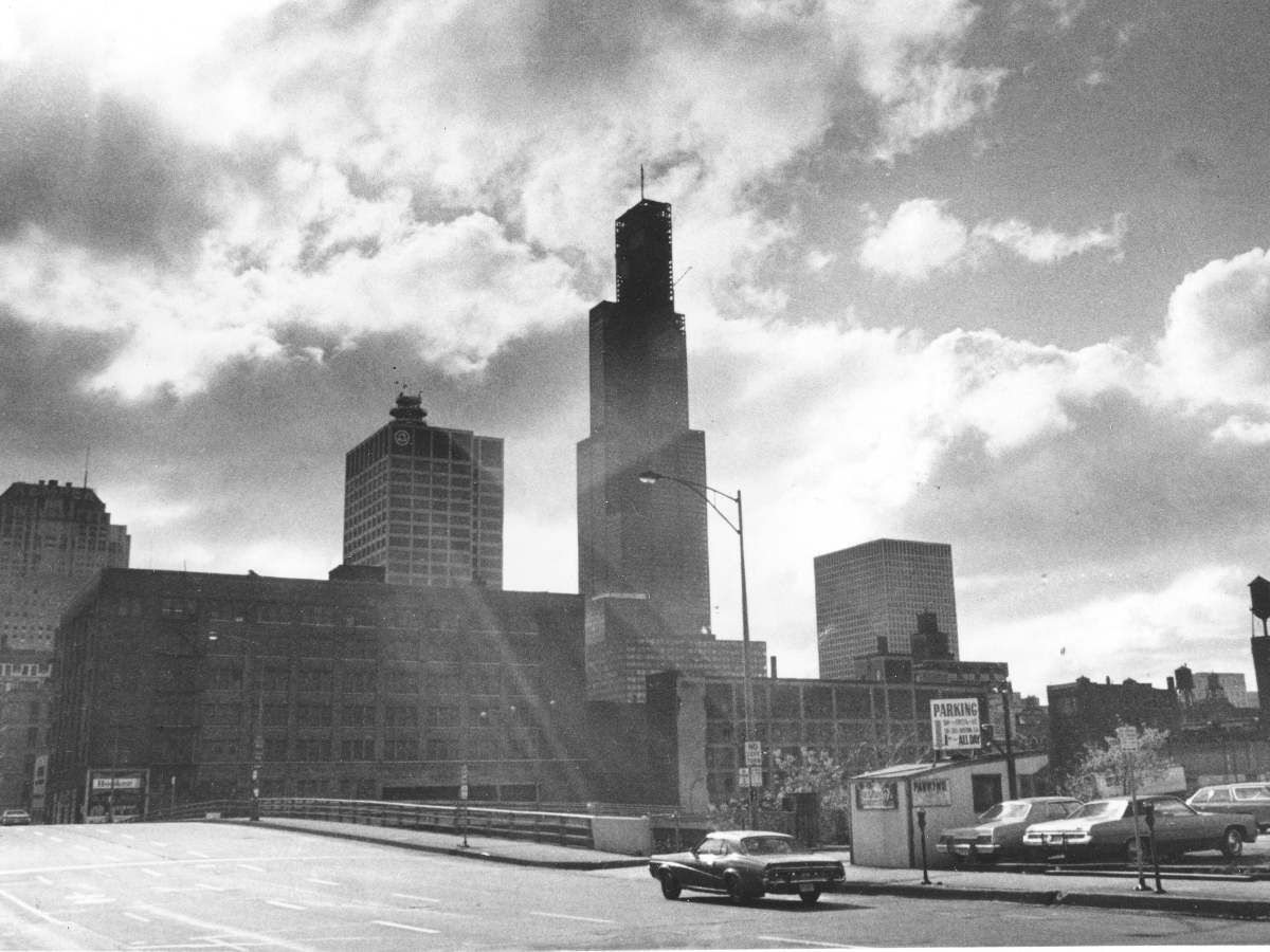 A general view of the Sears Tower just before the final beam was hoisted into place and topped out at 1,454 feet to become the world's tallest building, Chicago, Ill., Thursday, May 3, 1973. (AP Photo)