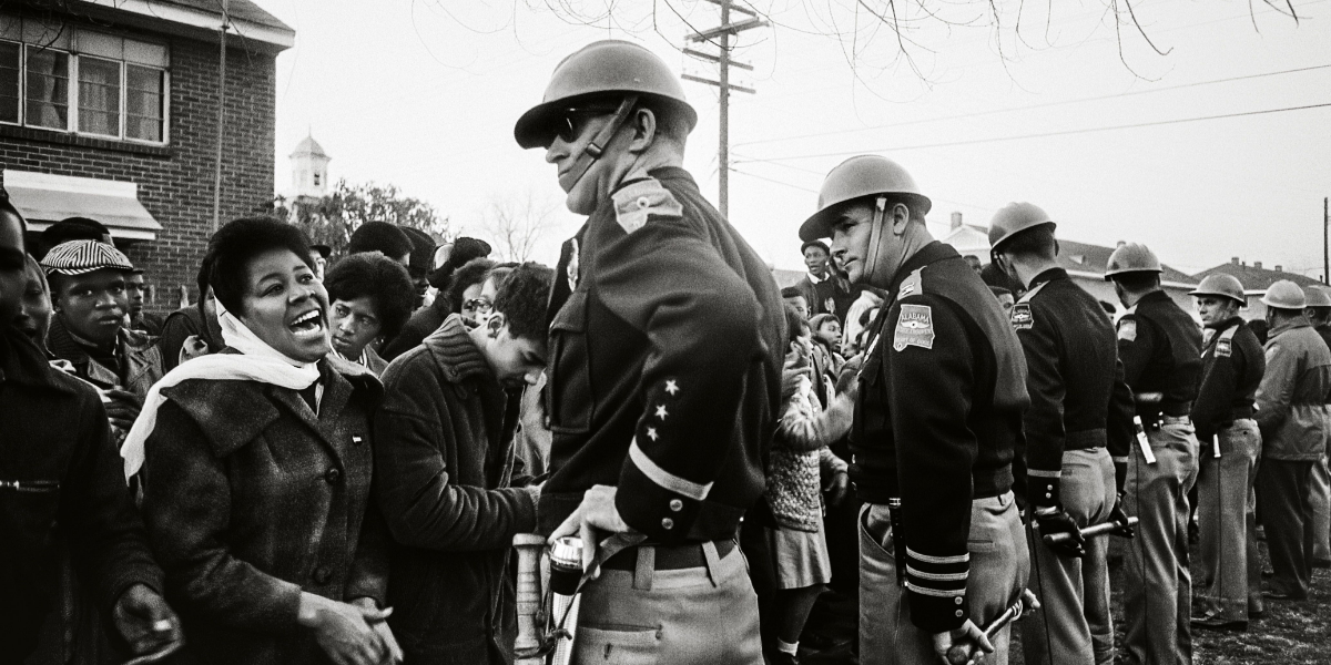 State troopers keep protesters at bay during a civil rights rally in Mississippi