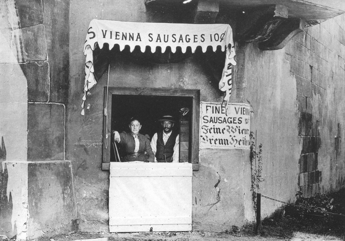 Emil Reichel and Samuel Ladany sold their sausages for 10 cents at their stand in Old Vienna. (Courtesy Arnold, C. D.; Higinbotham, H. D. Official Views of the World's Columbian Exposition. Press Chicago Photo-Gravure Co., 1893)