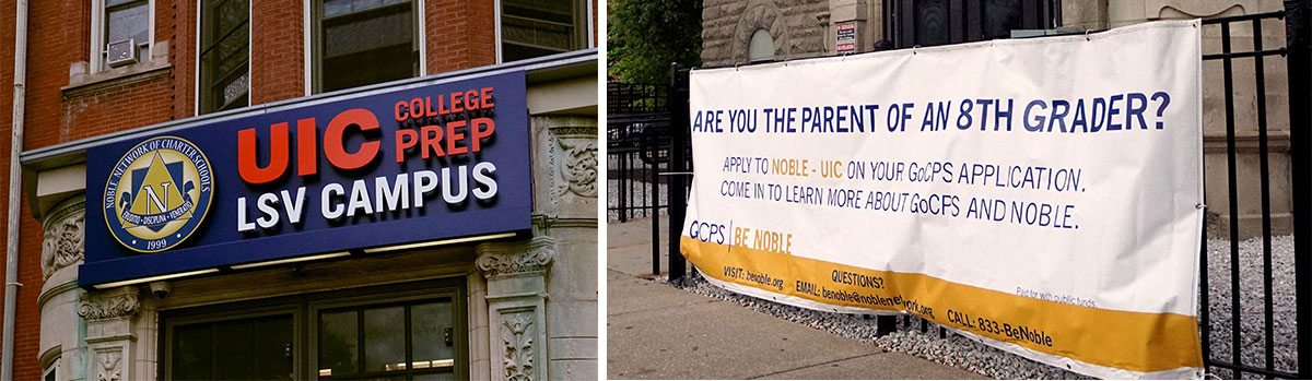 A sign in front of UIC College Prep encourages students to apply through a new CPS online application system. This year, 44 percent of the students who ranked the school as their top choice got in. (Adriana Cardona-Maguigad/WBEZ)