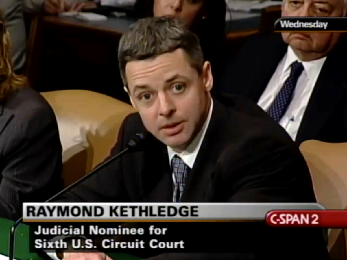 In this image from video provided by C-SPAN, Raymond Kethledge testifies during his confirmation hearing for the 6th U.S. Circuit Court on May 7, 2008. Kethledge is one of four judges thought to be President Donald Trump's top contenders to fill a vacancy on the Supreme Court. (C-SPAN via AP, File).