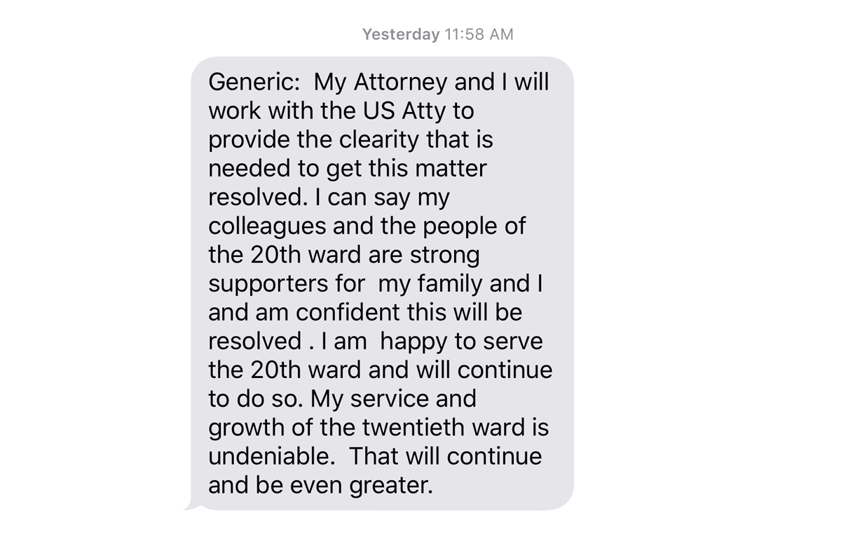 Ald. Willie Cochran texted reporters a statement on his indictment. (Hunter Clauss/WBEZ)