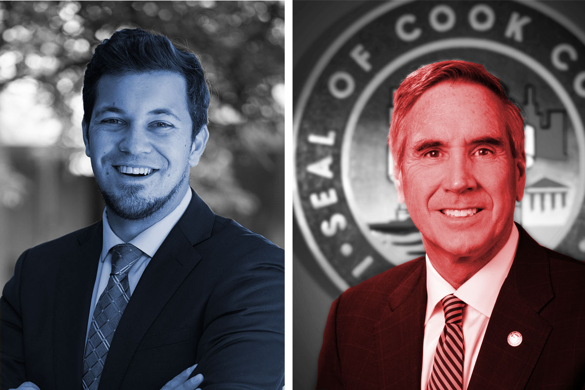 Democrat Kevin Morrison (left), is running to unseat Republican incumbent Tim Schneider (right) as Cook County Commissioner in the 15th District. (Images courtesy of candidates and cookcountyil.gov. Photo illustration: Paula Friedrich)
