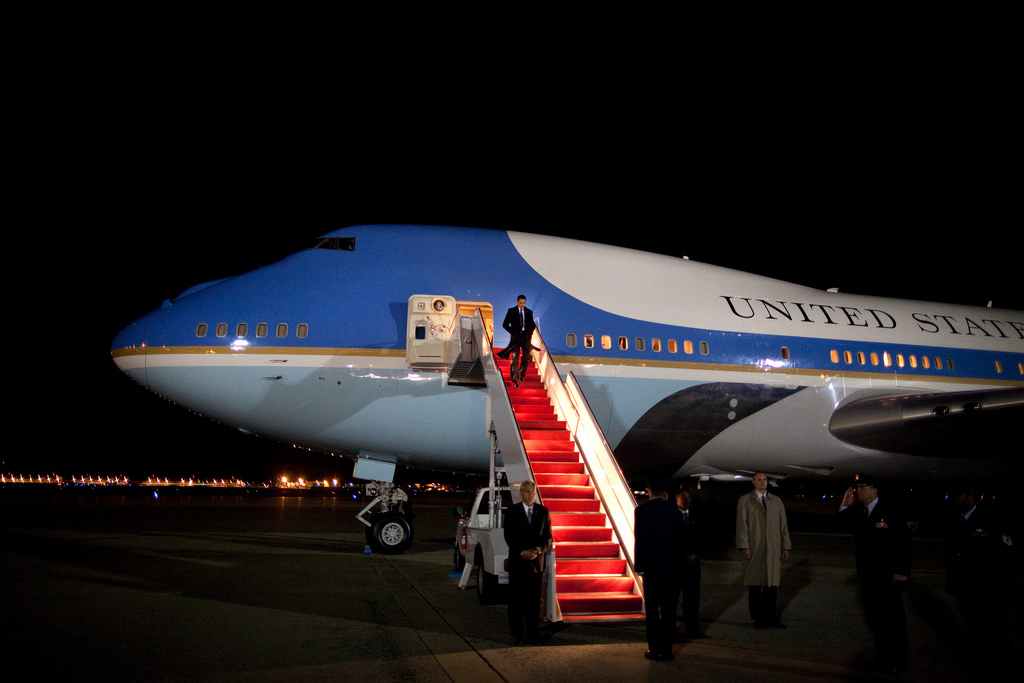 President Barack Obama makes his way down the stairs of Air Force One April 8, 2009, upon his arrival to Andrews Air Force Base returning from Baghdad, Iraq. (Official White House Photo by Pete Souza)