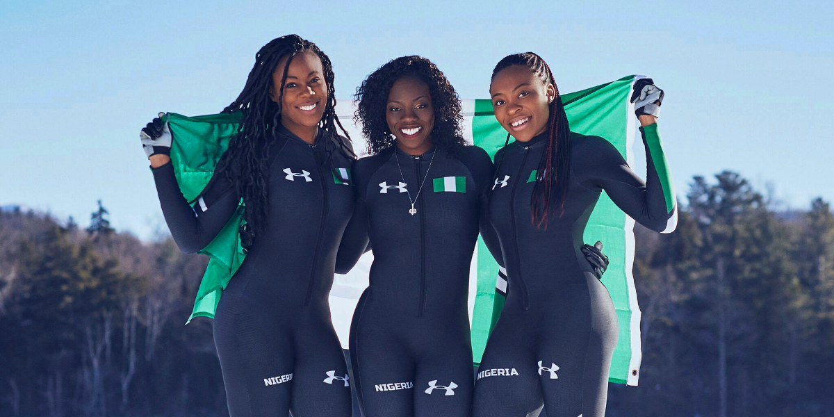 From left, Nigerian boblsedders Akuoma Omeoga, Seun Adigun, and Ngozi Onwumere pose for a photo in this undated photo provided by Under Armor. The American-born former track athletes will field the first bobsled team from the entire continent of Africa in Pyeongchang. (Under Armour via AP)