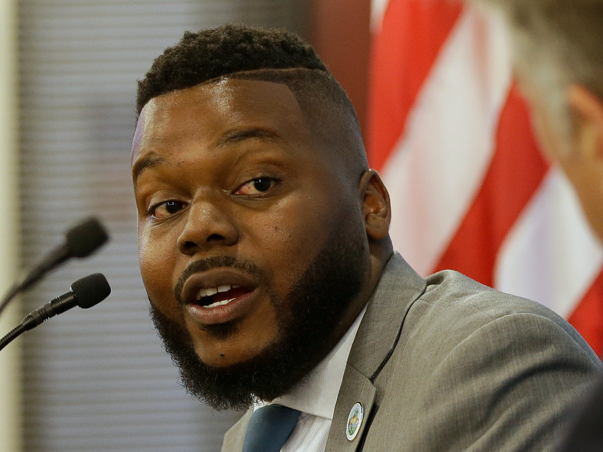 Stockton Mayor Michael Tubbs speaks about Stockton's guaranteed income pilot during an appearance in Sacramento on Tuesday, July 10, 2018. (AP Photo/Rich Pedroncelli)