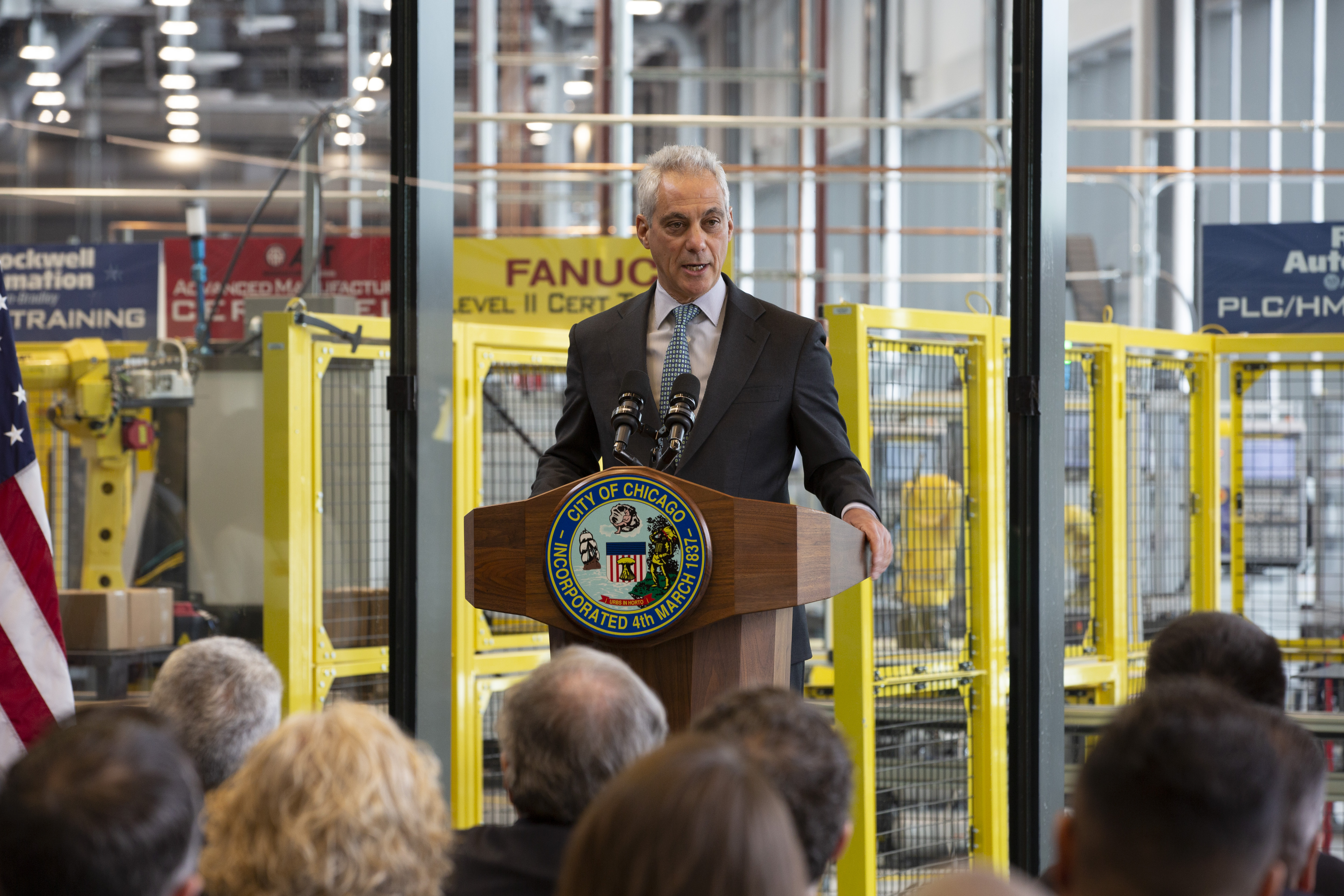 Mayor Rahm Emanuel speaks at the opening of the Manufacturing Technology and Engineering Center at Richard J. Daley College. He said the reinvention of City Colleges of Chicago has transformed the community college system. (Manuel Martinez/WBEZ)