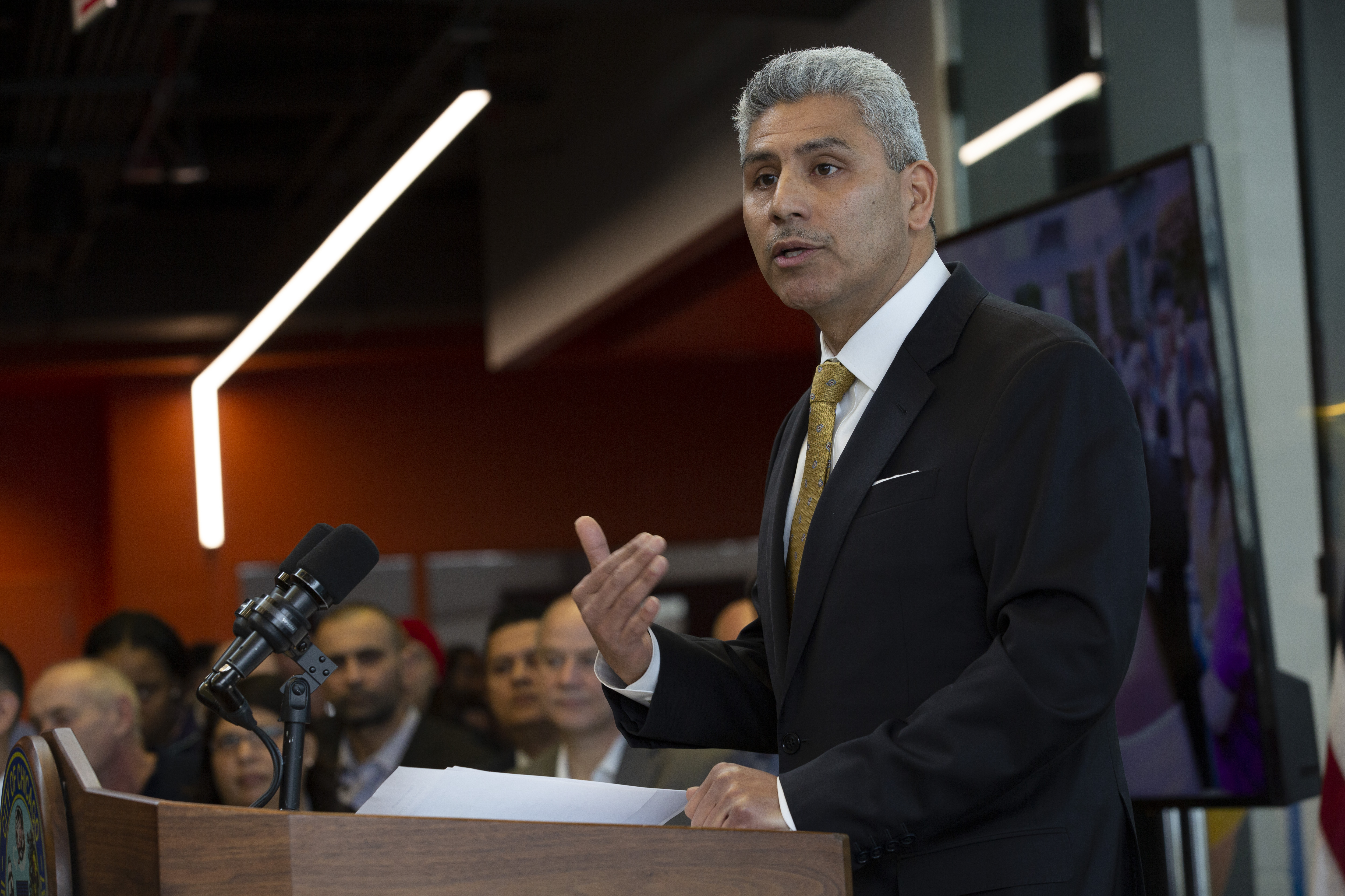 City Colleges of Chicago Chancellor Juan Salgado speaks at the new Manufacturing Technology and Engineering Center at Richard J. Daley College on Jan. 14, 2019. (Manuel Martinez/WBEZ)