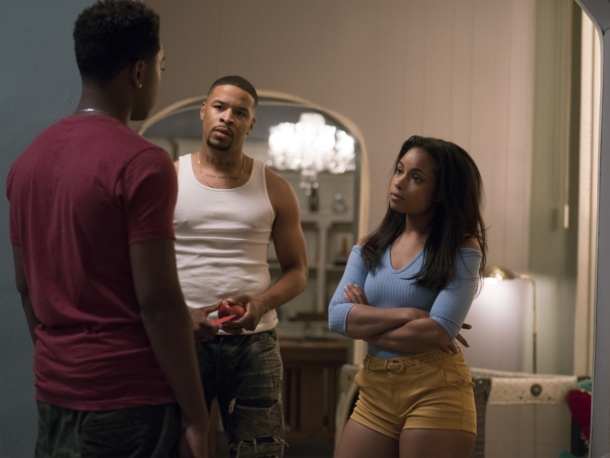 Jacob Latimore as Emmett, Ivan Ellis as Dek, and Hannah Hall as Tiffany. (Parrish Lewis/SHOWTIME)