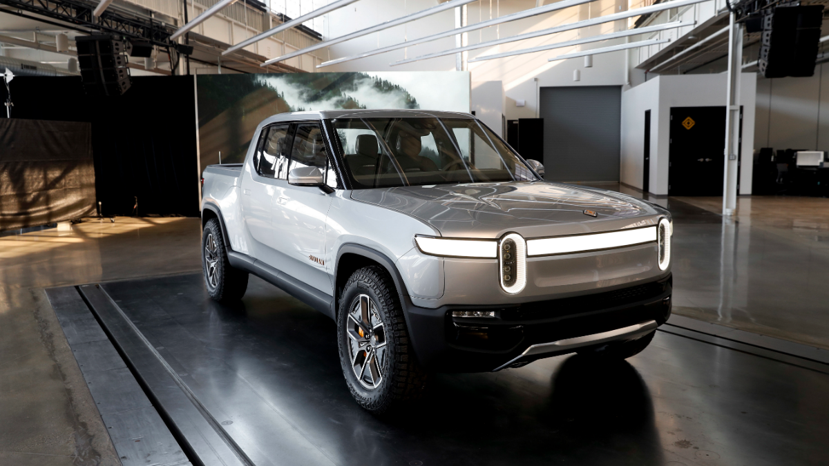 The Rivian R1T is shown at Rivian headquarters in Plymouth, Mich. on Nov. 14, 2018. (AP Photo/Paul Sancya)