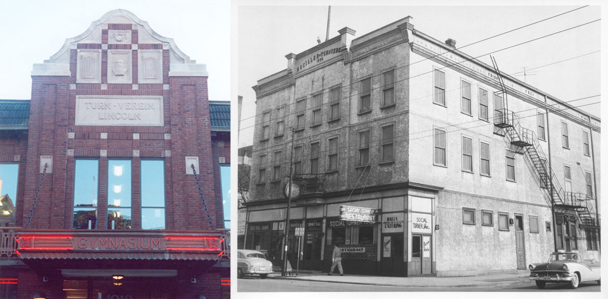 The Turner Hall building at 1251 Diversey Blvd. in Lincoln Park, pictured here on the left in 1923, still stands today. The Turner Hall at Belmont Ave. and Paulina St., shown here on the right in 1956, has been demolished.