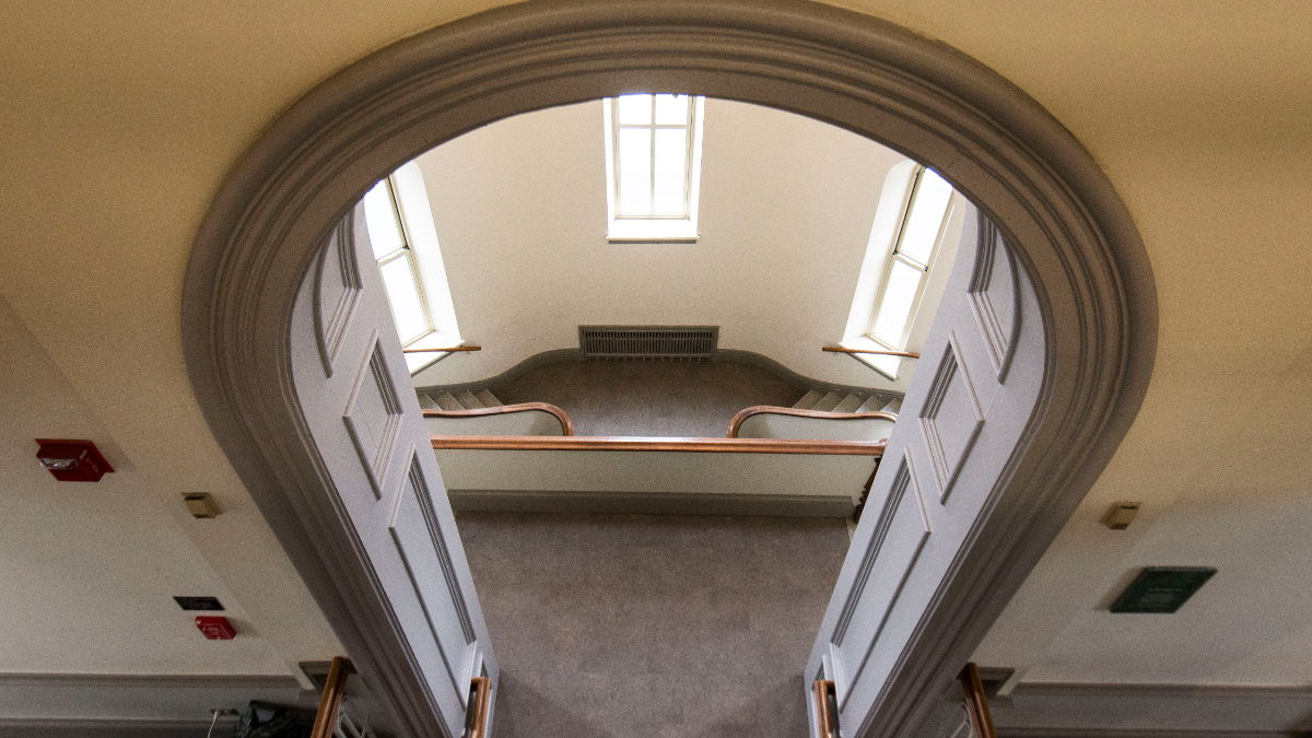 Inside Blanchard Hall, the former chapel where faculty and students once hid fugitive slaves, is now a stairwell. (Jason Marck/WBEZ)