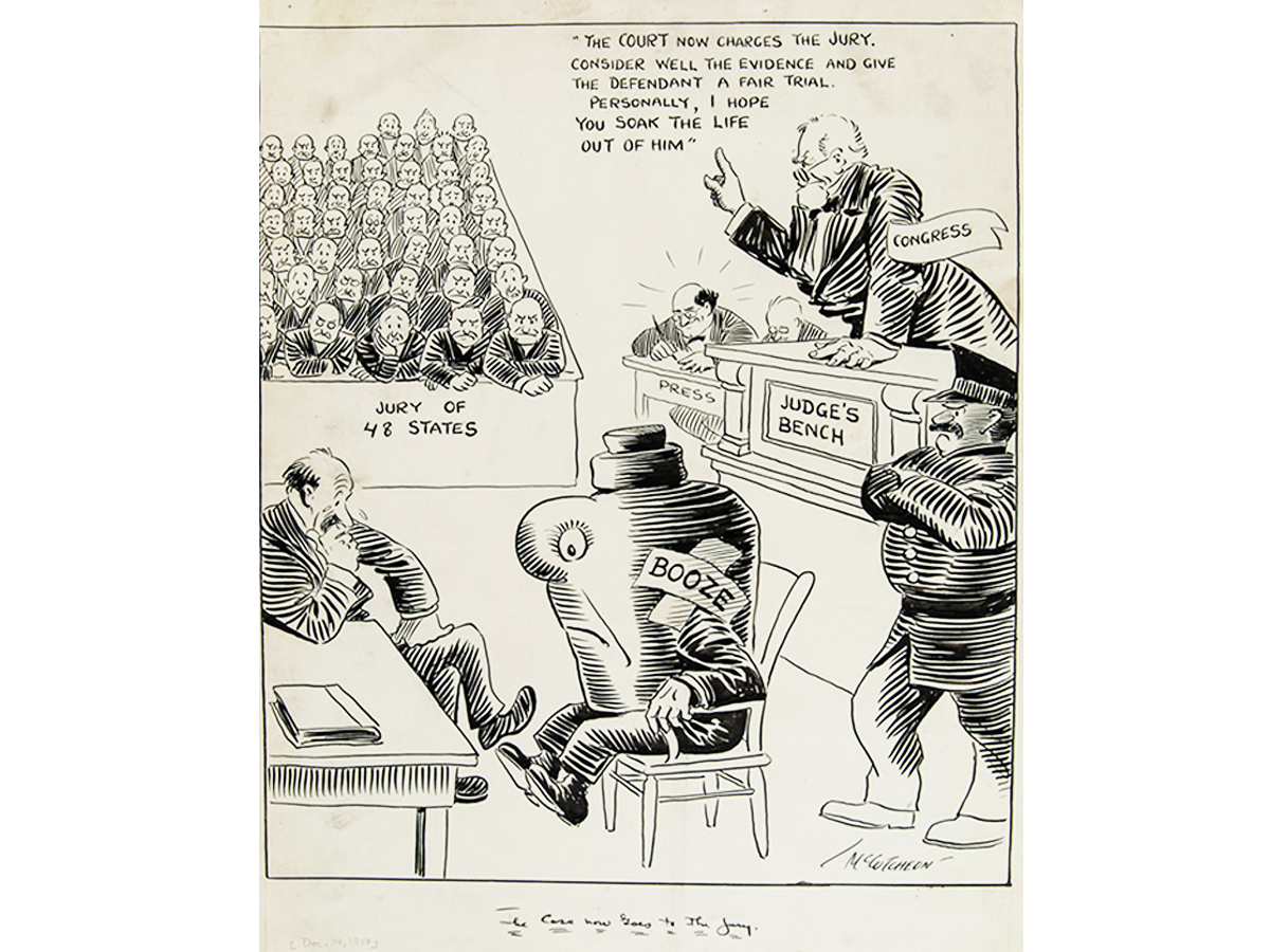 A 1917 illustration titled 'The case now goes to the jury re: prohibition' by political cartoonist John Tinney McCutcheon. (Courtesy Newberry Library, Chicago John T. McCutcheon papers, 1834-1996)