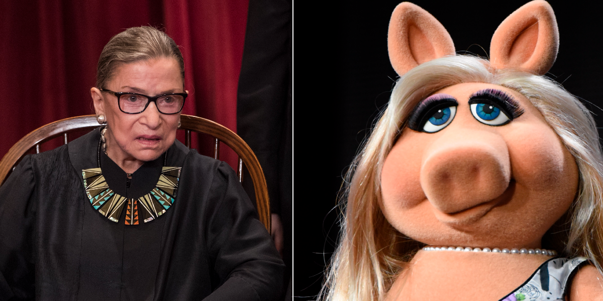 RBG is Miss Piggy, Lithwick says. (J. Scott Applewhite/AP, Richard Shotwell/Invision/AP)
