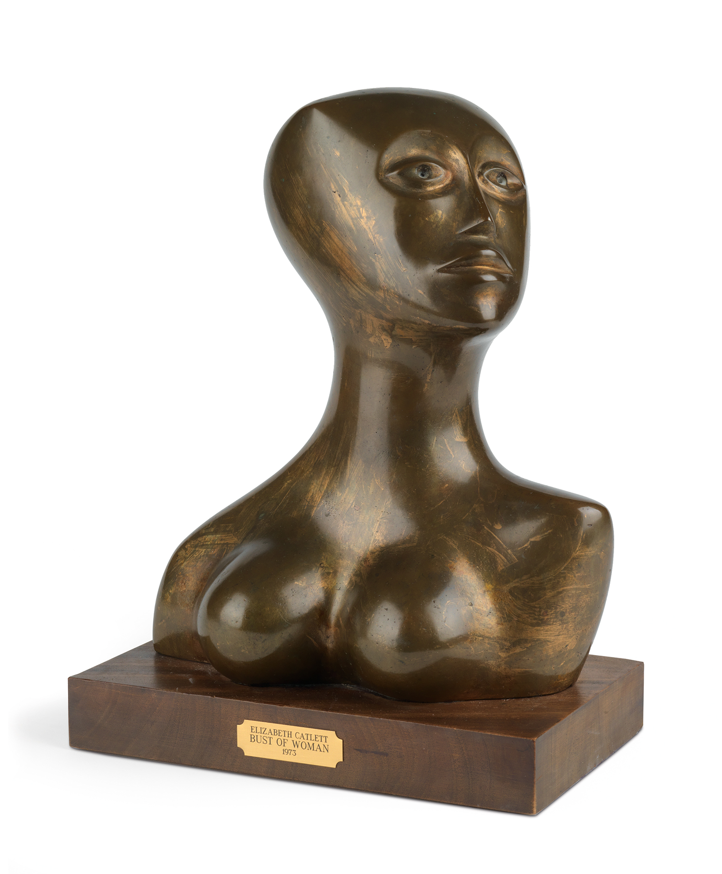 Sister, a cast bronze statue mounted on a wooden base, was created by Elizabeth Catlett in 1973.