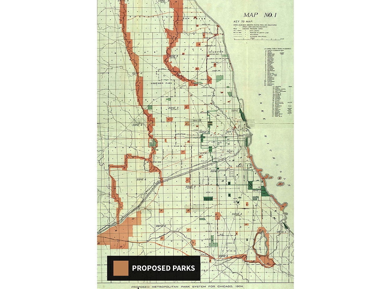 A 1904 map drawn by Perkins laid out his vision for an 'outer belt' of parks around city, shown in orange. (Courtesy UIC Special Collections)