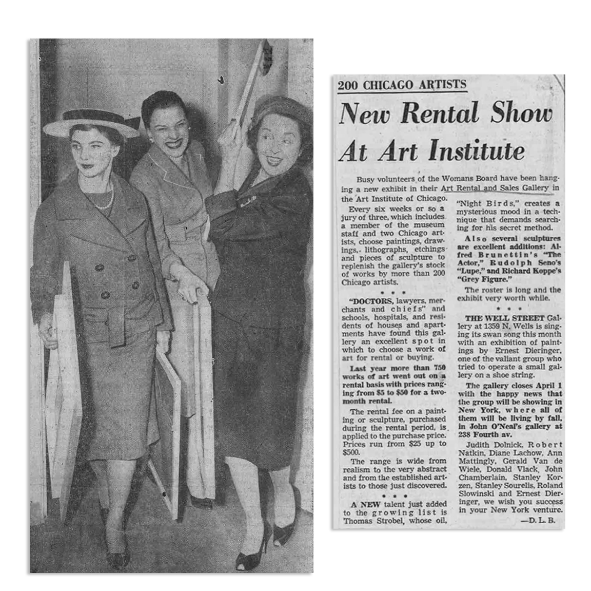Mrs. Albert H. Newman, Mrs. J. Sanford Rose, and Mrs. Homer Hargrave Sr. help transport paintings to and from the Art Rental and Sales Gallery in the Art Institute. (Courtesy Chicago Sun-Times)