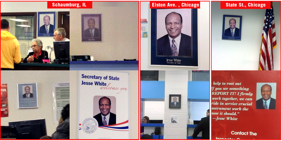 A collection of snapshots from WBEZ staff depicting the many portraits of Illinois' Secretary of State at a selection of DMVs. (WBEZ)