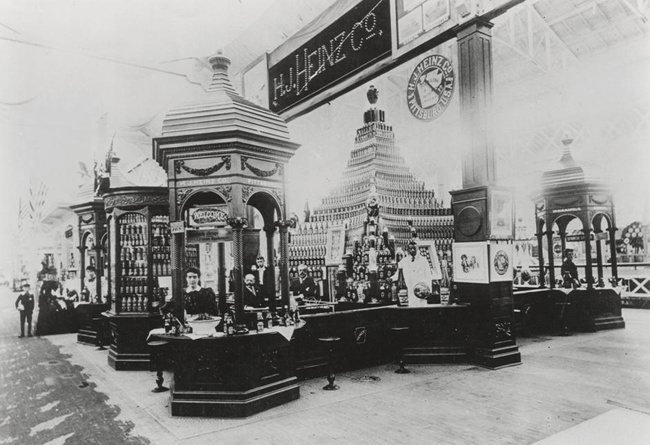 The H.J. Heinz Company's display at the 1893 World's Fair included pyramids of ketchup and horseradish. (Courtesy Senator John Heinz History Center)