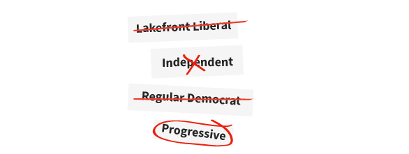 Lakefront liberal, independent, regular democrat, progressive