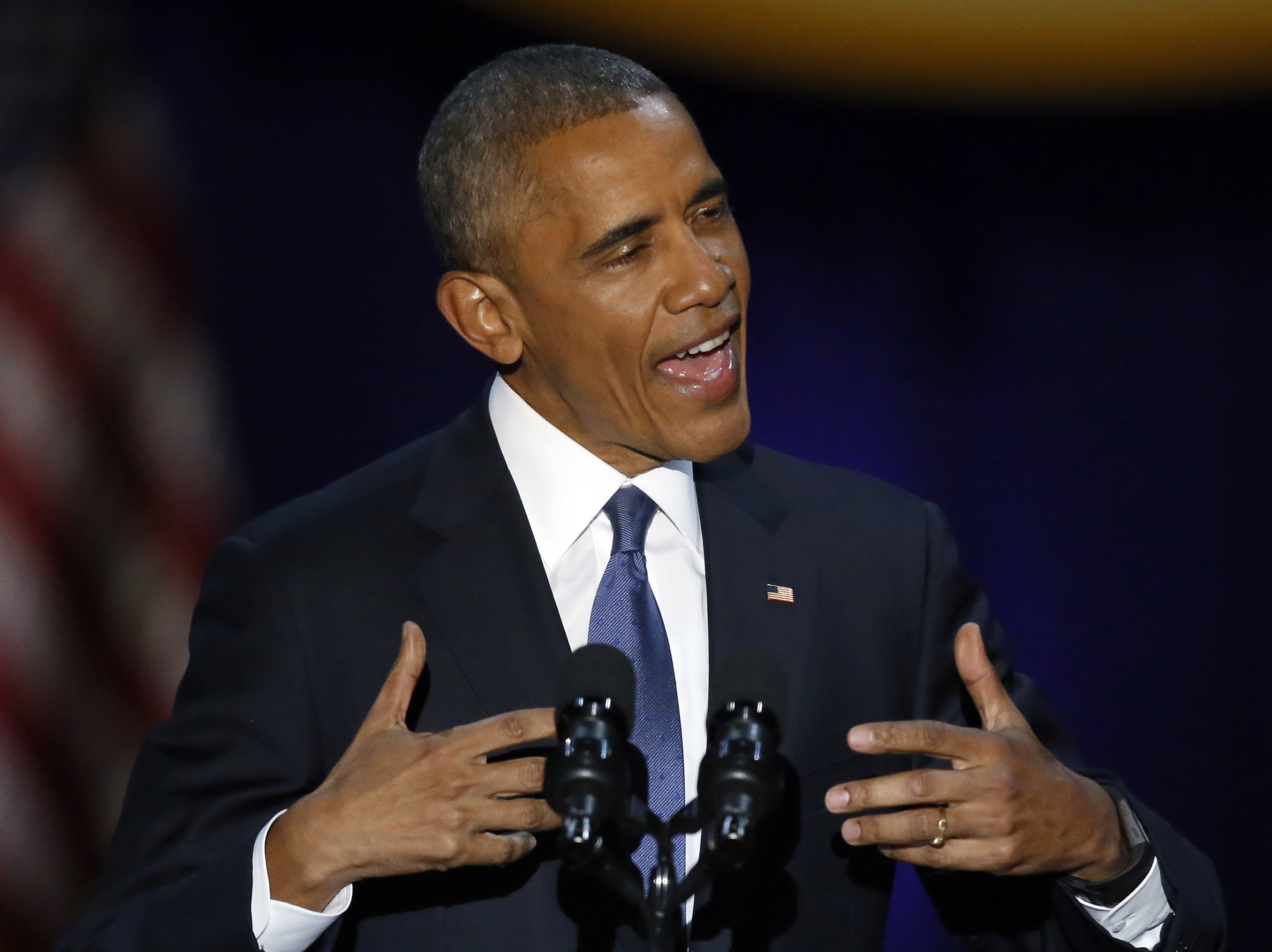 President Barack Obama speaks at McCormick Place in Chicago on Tuesday. (Charles Rex Arbogast/AP)