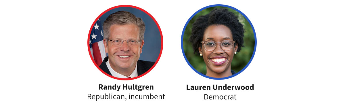 Images of  Republican incumbent Randy Hultgren and Democratic candidate Lauren Underwood