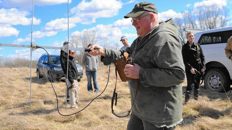Chris Anchor, senior wildlife biologist for the Forest Preserves of Cook County, uses an antenna to track the movements of a badger implanted with a transmitter. (Jeff Nelson / Forest Preserve District of Cook County)
