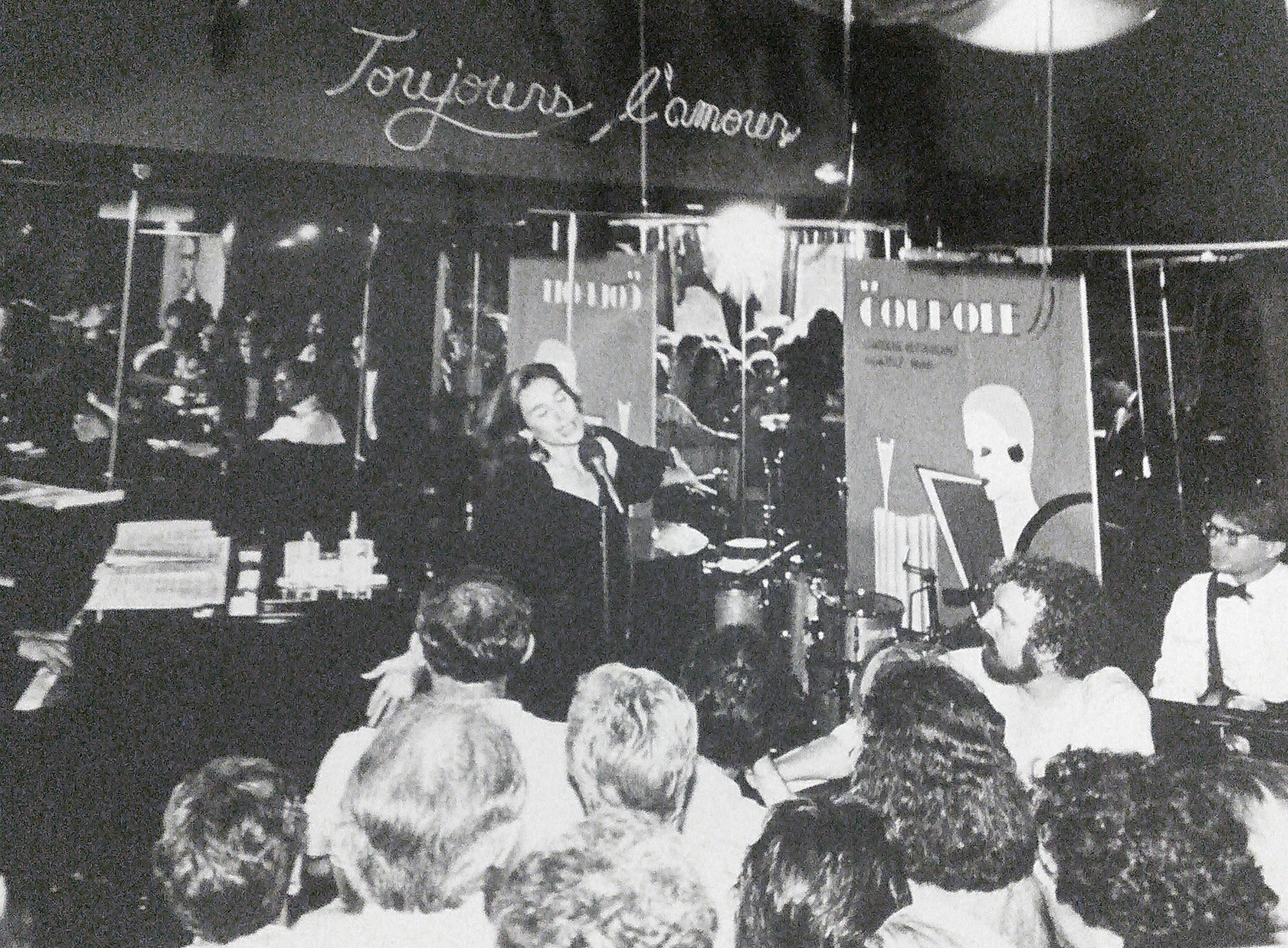 Many famous artists graced the stage of the Sardine Bar, including actress, singer and cabaret star Andrea Marcovicci (left). Because the club was so small, the stage took up little space and crowds could watch performers from just steps away. (Courtesy Debbie Silverman Krolik's private collection)