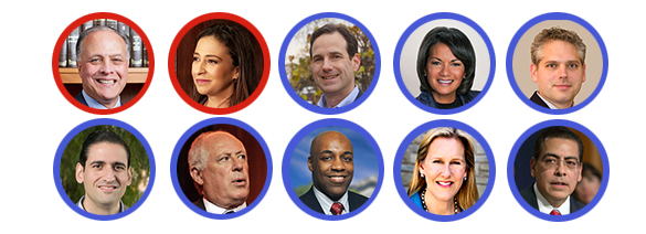 The candidates (from top left): Republican candidates Gary Grasso and Erika Harold. Democratic candidates: state Rep. Scott Drury, Sharon Fairley, Aaron Goldstein, Renato Mariotti, Pat Quinn, state Sen. Kwame Raoul, Highland Park Mayor Nancy Rotering, and Chicago Park District Board President Jesse Ruiz. (Photos via Facebook)