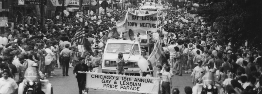 The 18th annual Chicago Pride Parade. (Courtesy Chicago History Museum, ICHi-089096; Lee A. Newell II, photographer)