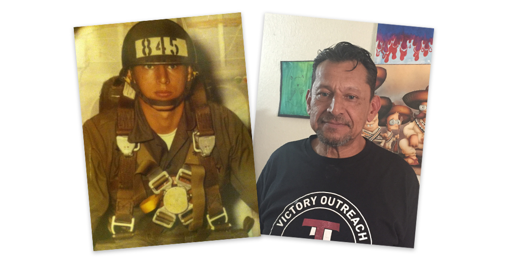 Mario Rangel during his time in the military and today