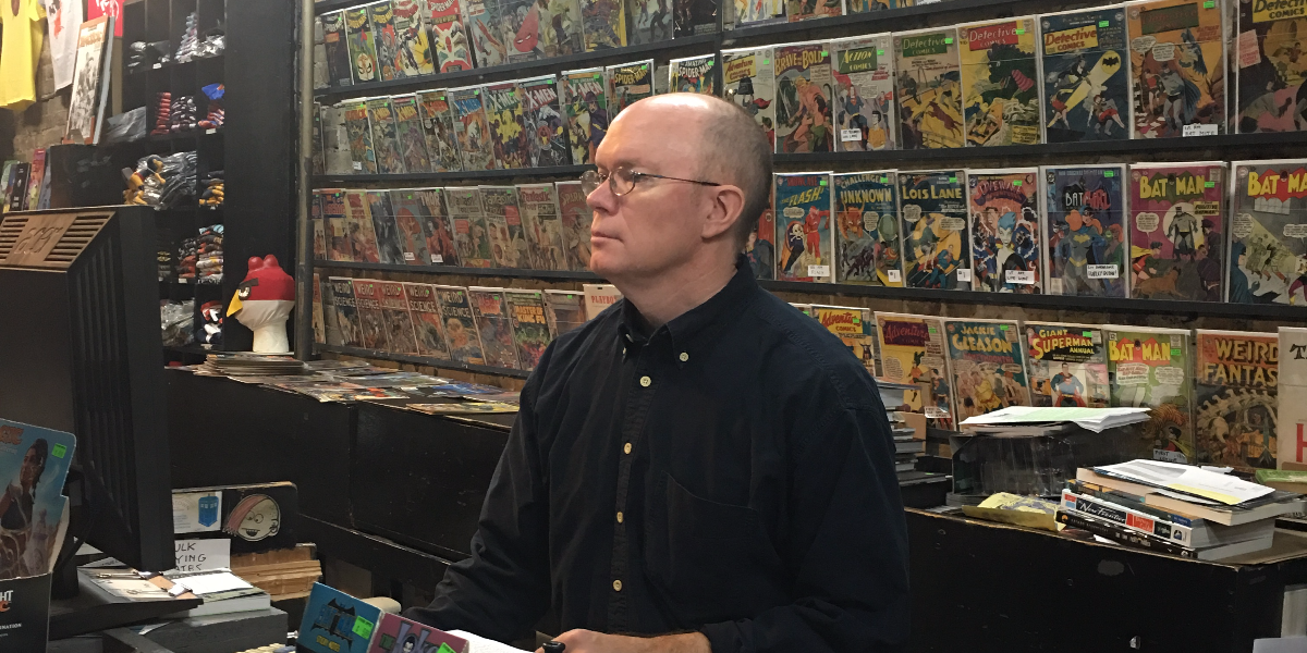 Eric Kirsammer, the owner of Chicago Comics, said he will be at his comic book store during the World Series just in case some baseball fans get out of control. (Hunter Clauss/WBEZ)