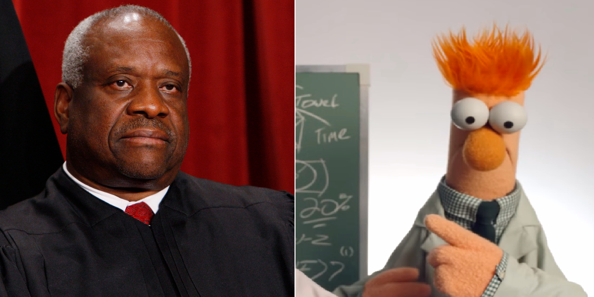 Lithwick says Clarence Thomas is Beaker. (Charles Dharapak/AP, Screenshot from YouTube/Disney/The Muppets)