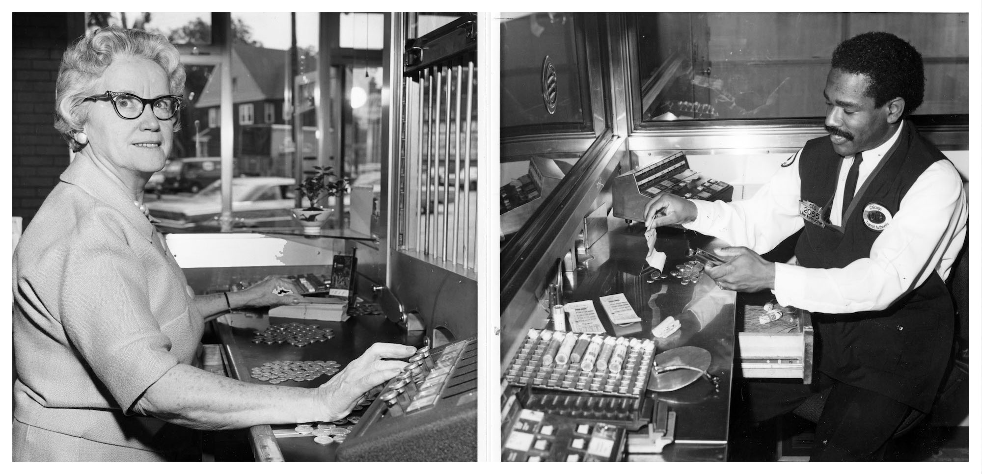 Tokens could be purchased at CTA's corporate headquarters, or even at local grocery stores. But many riders bought them at 'L' stations from a ticket booth attendant -- like the ones pictured here in 1965 (left) and 1987 (right). (Courtesy Chicago Transit Authority)