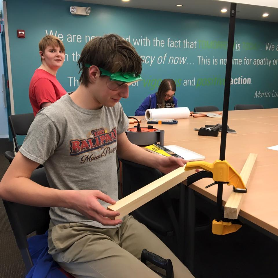 Beacon Academy students turn a math class into a maker lab in 2016. The school has since moved to a new facility. (Bob Hoagland/Courtesy of Beacon Academy)