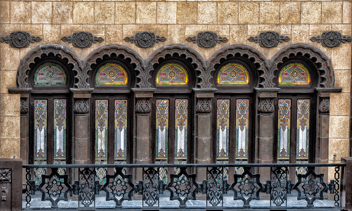 Stained glass windows above the entrance to the Medinah Temple. (Jason Marck/WBEZ)