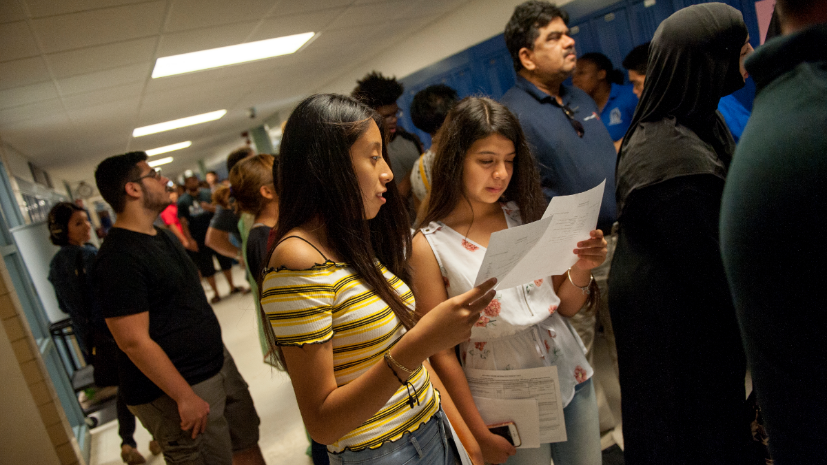 An additional 250 freshmen registered to attend Mather High School this year compared to last, boosting the school's enrollment to about 1,500. (Bill Healy/WBEZ)