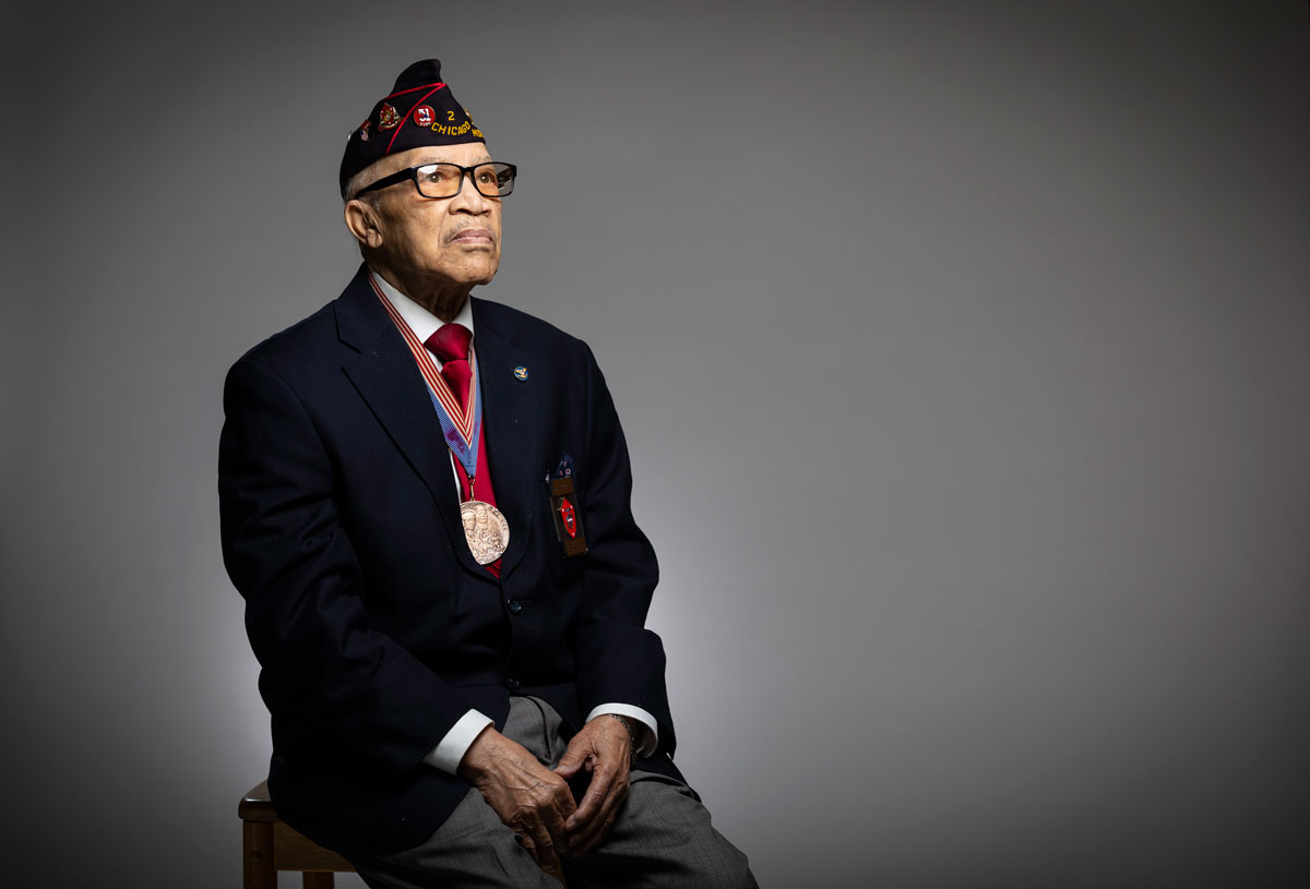 """As African-Americans, you didn't have the regular military status behind you. You were just a thing,"" said Stanley Porter, 97. (Manuel Martinez/WBEZ)"