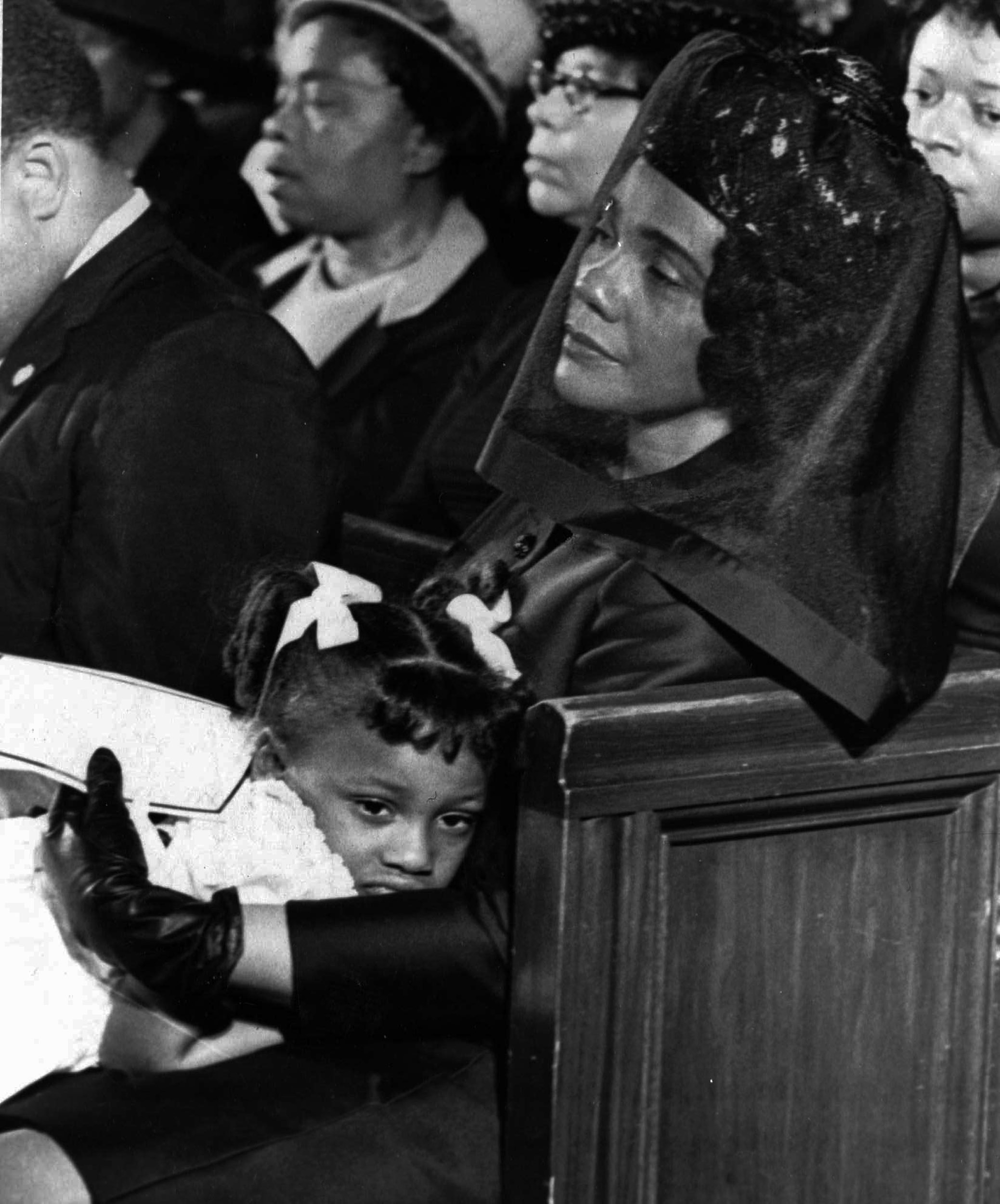 Coretta Scott King and her daughter, Bernice, are shown in this April 9, 1968 photo captured by Ebony photographer Moneta J. Sleet Jr., attending the funeral of her husband, Martin Luther King, Jr.